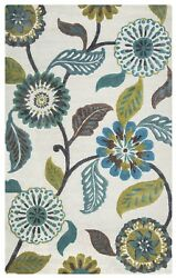 Eden Harbor Wool Area Rug 9 X 12and039 Sage Green Brown Blue Teal Grey White Floral