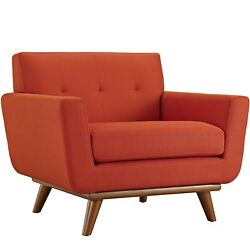 Mid-Century Modern Engage Armchair With Wooden Legs Atomic Red