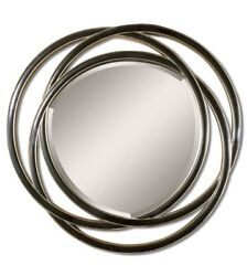 Odalis Entwined Circles Mirror In Black Finish And Silver Leaf Accents, 48x48