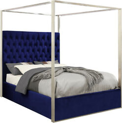 Oleander Contemporary Button-tufted Navy Blue Velvet Queen Bed W/ Chrome Canopy