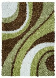 Kempton Soft Wool Area Rug 9 X 12and039multi-color Sage Green Brown White Stripe/shag