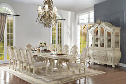 Antique White Formal Dining Room 114 Double Pedestal Table And Chairs 5 Piece Set