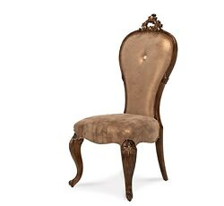 Set Of 2 Platine De Royale French Dining Side Chairs Carved Wood Cabriole Legs