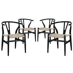 Set Of 4 Amish Contemporary Wood And Twine Dining Armchair Black