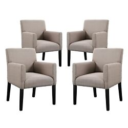 Set of 4 - Chloe Contemporary Upholstered Armchair With Wood Legs - Beige Brown