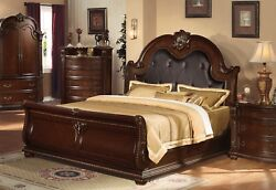 Sunderland Classic Cherry Veneer King Sleigh Bed W/tufted Faux Leather,brown,red