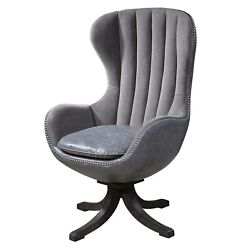 Linford Grey Velvet Swivel Chair With Channel Tufted Back And Steel Accent Nails
