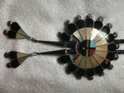 Huge Zuni Multi-stone Inlay Sunface Bolo Signed P Lonjose Sterling Bola Tie 3