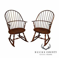 Martins Chair Shop Inc Bench Made Solid Cherry Sackback Pair Windsor Rockers C