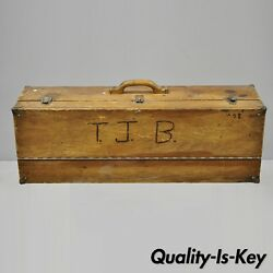 Antique Wooden Tool Chest Storage Box Carved Initials Signed T.j.b. 78