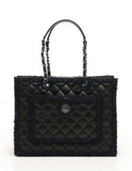 Auth CHANEL Tote bag Black Tweed Large Logo Authenticity Seal Dust Bag RCB0218
