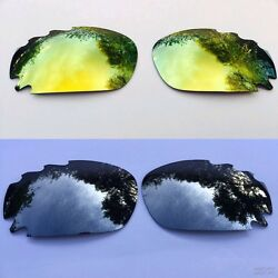 REPLACEMENT SILVER 24k GOLD MIRROR VENTED OAKLEY JAWBONE & RACING JACKET LENSES