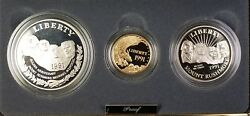 1991-w And S Gold 5 Silver 1 50 Cents Mount Rushmore - 3 Coin Proof Set In Ogp