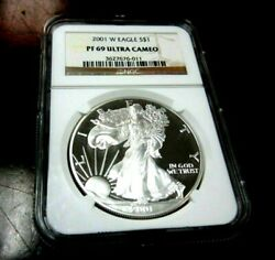 2001-w Proof Silver American Eagle Ngc Pf69 Ultra Cameo ⭐333⭐v6⭐