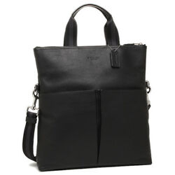 NEW COACH Men's Foldover Business Tote Crossbody Black Leather Messenger Bag