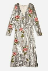 Womenand039s Topshop Glamorous Vintage Sequin And Floral Beaded Wrap Dress Size 12