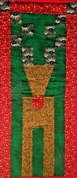 Christmas Deer Small Wall Hanging Quilt Pieced Deer 9 in. W 21 in. L