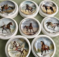 Horses- 8pc. Collector Plates Andldquowar Ponies Of The Plainsandrdquo Sioux By Perillo