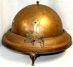 Vintage Large Copper Covered Server With Sterno Cup Holders C. 1930-1950