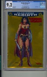 Wonder Woman 1 Cgc 9.2 Gold Foil Cover Convention Edition Variant Dc Rebirth