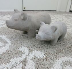 Vtg Cement PIG Garden Statues~Patio Decor~Door Stops~Adorable Mom and Baby Pig!