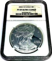 2003 W Us Silver American Eagle. Ngc Pf69 Proof Ultra Cameo.⭐334⭐v7⭐