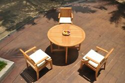 A-grade Teak 4pc Dining 48 Round Butterfly Table 3 Lagos Arm Chair Set Outdoor