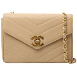 Vintage CHANEL Caviar Skin V Stitch Turn-lock Chain Bag Beige