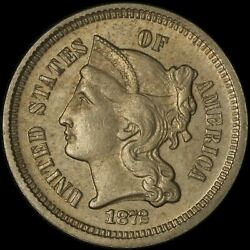 1872 3c Three Cent Coin - Uncirculated - Free Shipping Usa
