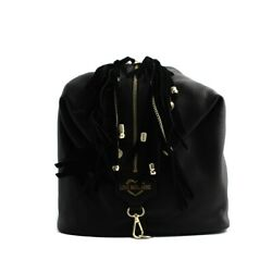 Bag backpack Love Moschino woman black real leather with fringes and pendants