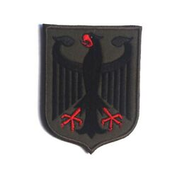 Embroidered German Germany DE Eagle Army Hook Loop Patch Backing Fastener Badge