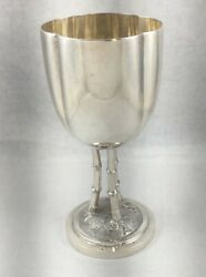 Wonderful Large Chinese Export Sterling Goblet W/bamboo Figural Stem-6 3/4