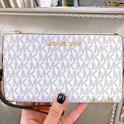 Michael Kors Jet Set Travel Large Double Zip Wristlet Wallet Vanilla New 2021 $64.38