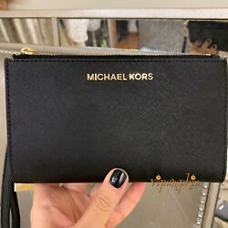 Michael Kors Jet Set Travel Double Zip Wristlet Leather Phone Case Wallet Black