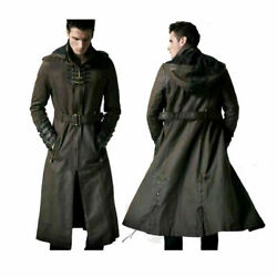 Mens Real Leather Long Coat Steampunk Gothic Hooded Trench Coat New