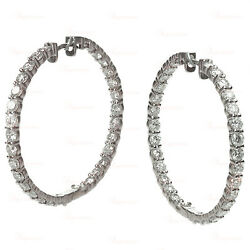 Custom-Made 8.83 Carat Diamond Large 18k White Gold Hoop Earrings