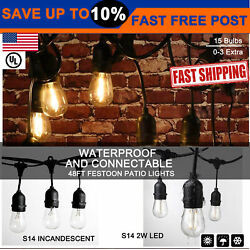 5x 48 ft S14S14 LED Commercial Patio Festoon String Lights Outdoor Indoor Party