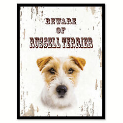 Beware of Russell Terrier Dog Sign Gifts Canvas Print Home Decor Picture Frames