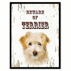 Beware of Terrier Dog Sign Gifts Canvas Print Home Decor Picture Frames Wall Art