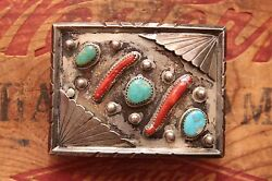 Vtg Hand Made Sterling Silver Native American Style Turquoise Coral Belt Buckle