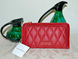 NWT $138 VERA BRADLEY Quilted Genuine Leather Georgia Wallet TANGO RED
