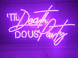 New Til Death Do Us Party Purple Poster Decor Acrylic Neon Light Sign 22x14andldquo