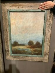 Pair Farmhouse 31 Oil Reproductions Salvaged Wood Frames Wall Art Pictures