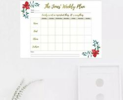 Printable Personalised Family Weekly Planner Calendar To do list Schedule