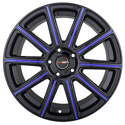 4 MOD 18 inch Black Blue Mill Rims fits CHEVY IMPALA 2000 - 2013