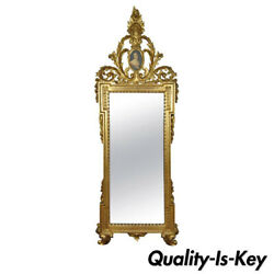 Italian Gold Giltwood Wall Mirror In The French Rococo Louis Xv Taste With Cameo