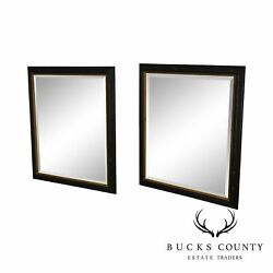 Regency Style Distressed Black And Gold Frame Rectangular Pair Beveled Mirrors