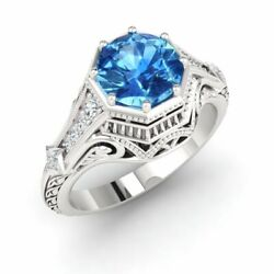 Certified 1.88ct Natural Blue Topaz And Diamond 18k Gold Vintage Style Ring Sz 9.5