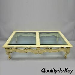 Large Vtg French Provincial Hollywood Regency Style Beveled Glass Coffee Table