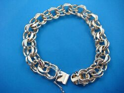14k Yellow Gold Heavy 38.4 Grams Old Fashioned Double Curb Link Charm Bracelet